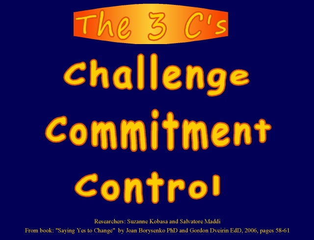 Optimistic perspectives... seeing obstacles from the perspective of challenge, commitment, control