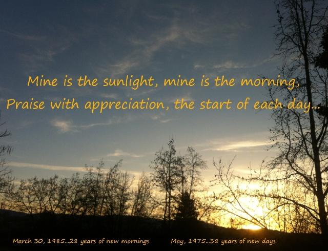 morning has broken, mine is the sunlight