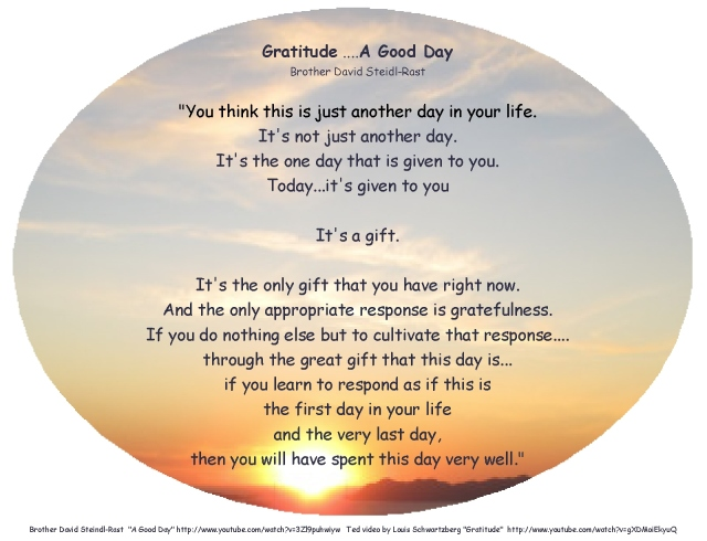 gratitude this day is a gift Brother Steindl-Rast