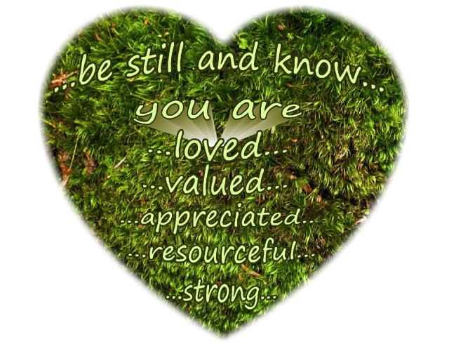 Be still and know you are loved valued appreciated resourceful and strong