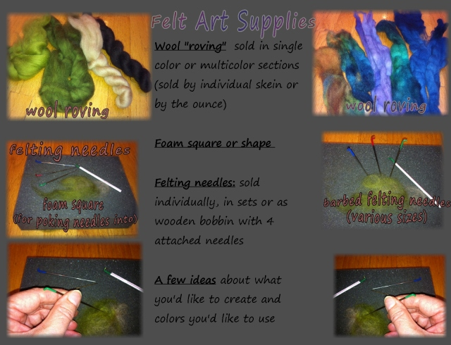 needle felting, art felt, materials needed