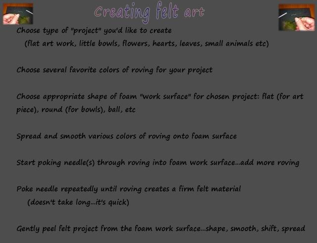 needle felting...steps to do