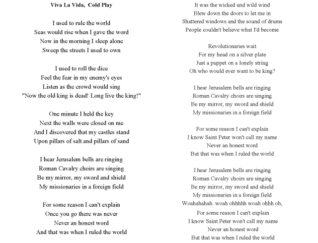 Viva la Vida by Cold Play  lyrics