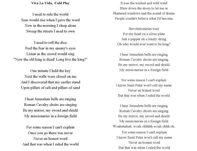 Viva la Vida by Cold Play  lyrics