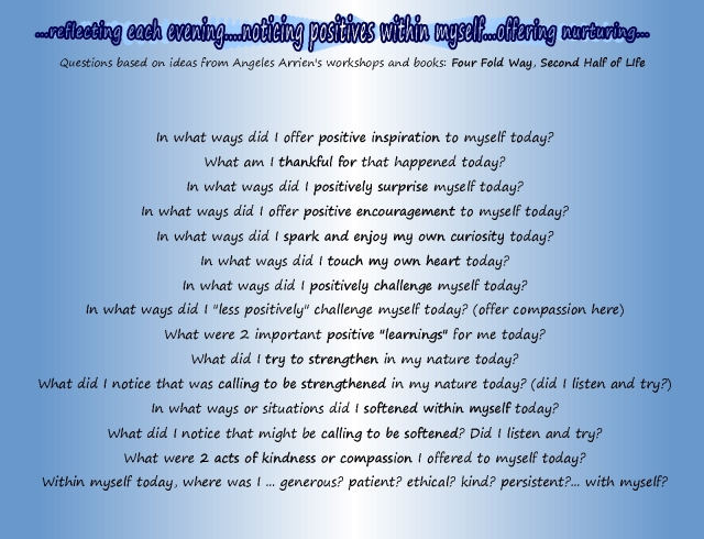 reflecting on qualities offered to oneself...