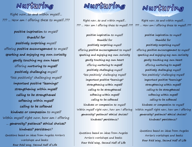 developing qualities reminder page...in each moment