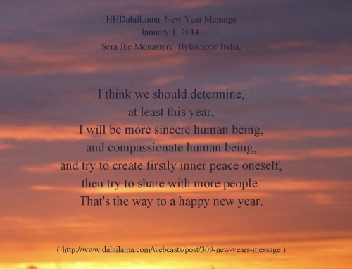 DalaiLama New Year Wish 2014 sincere compassinate human being