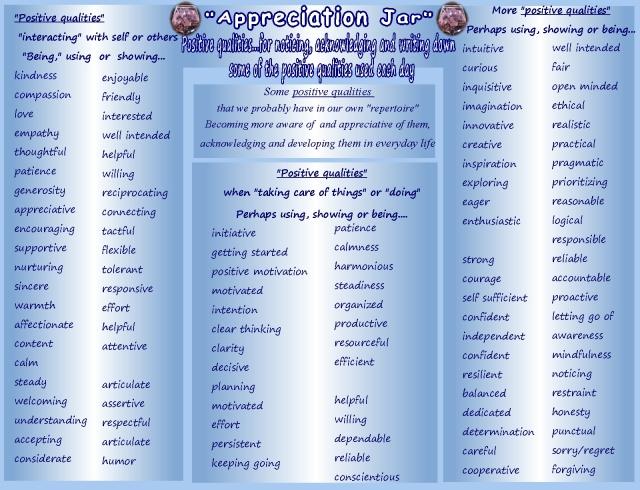 appreciation jar qualities to notice