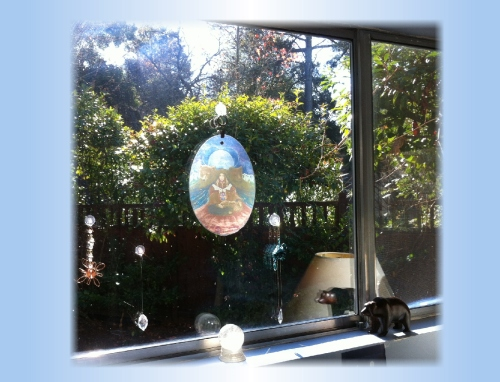 rainbow connection crystal in window