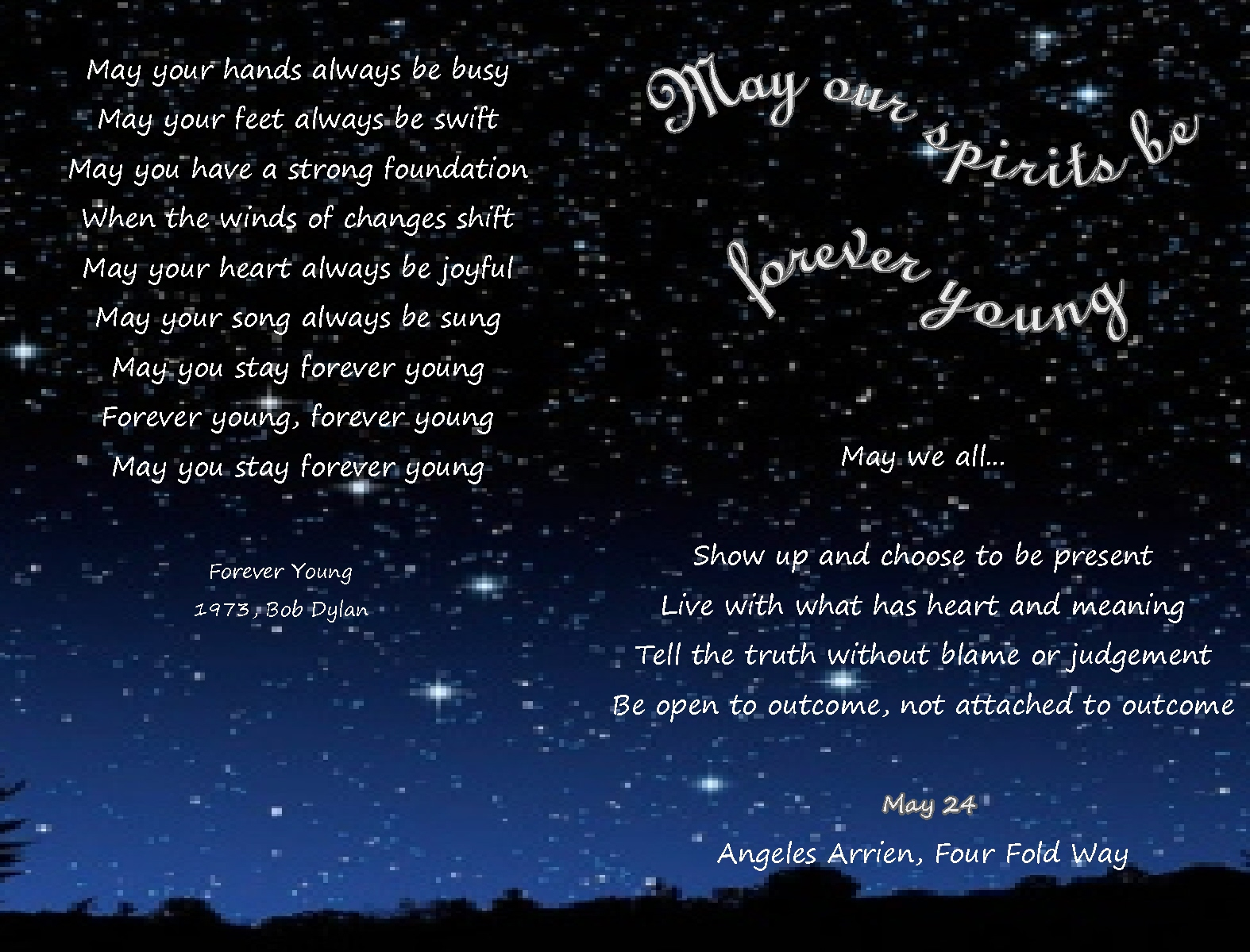 """May your spirit stay…""""Forever Young"""" youtube and wonderful lyrics"""