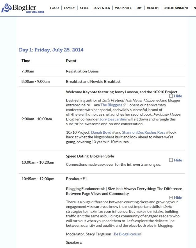 BlogHer Friday Morning  Schedule