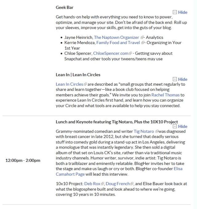 Friday BlogHer Schedule