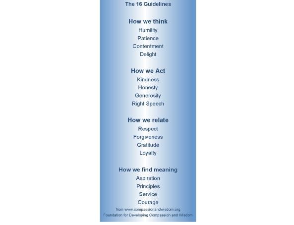 sixteen guidelines fpmt bookmark