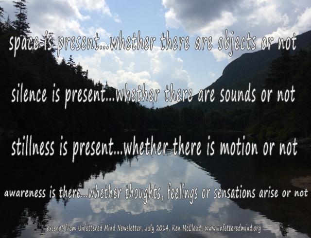 space silence stillness awareness