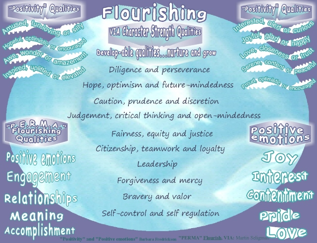 flourish perma and positive emotions VIA developable qualities