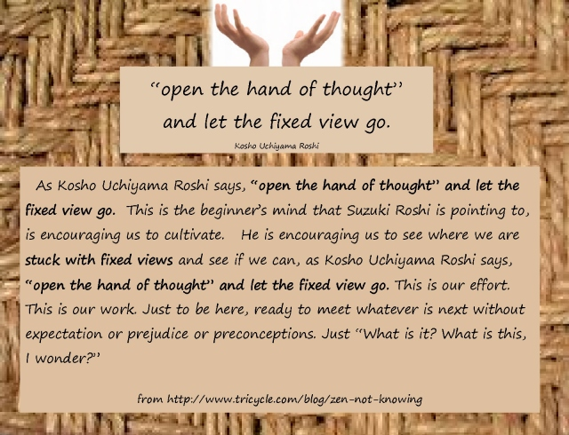 Open the hand of thought page 1 original quote