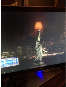 never ever statue of liberty wiith lampshade