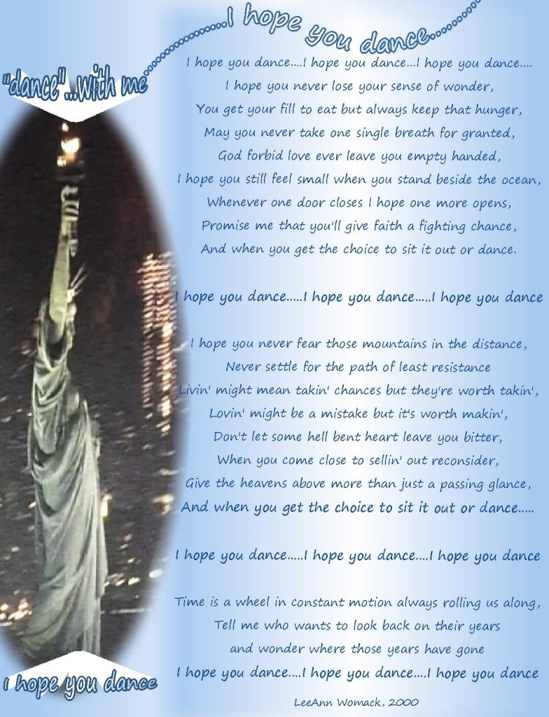 Lady Liberty I HOPE YOU DANCE